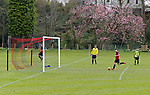 Keswick 1 Kendal 1, 15/04/2017. Fitz Park, Westmoreland League. The Keswick No. 9 runs the ball into an empty net to score the first goal of the game. Photo by Paul Thompson.
