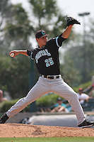 The Coastal Carolina University Chanticleers pitcher Austin Fleet #25 on the mound during the 2nd and deciding game of the NCAA Super Regional vs. the University of South Carolina Gamecocks on June 13, 2010 at BB&T Coastal Field in Myrtle Beach, SC.  The Gamecocks defeated Coastal Carolina 10-9 to advance to the 2010 NCAA College World Series in Omaha, Nebraska. Photo By Robert Gurganus/Four Seam Images