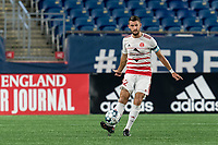 FOXBOROUGH, MA - AUGUST 21: Kyle Venter #12 of Richmond Kickers passes the ball during a game between Richmond Kickers and New England Revolution II at Gillette Stadium on August 21, 2020 in Foxborough, Massachusetts.