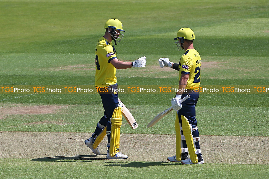 James Vince and D'Arcy Short enjoy a useful partnership for Hampshire during Hampshire Hawks vs Essex Eagles, Vitality Blast T20 Cricket at The Ageas Bowl on 16th July 2021