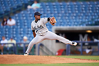 Mobile BayBears starting pitcher Luis Pena (6) delivers a pitch during a game against the Mississippi Braves on May 7, 2018 at Trustmark Park in Pearl, Mississippi.  Mobile defeated Mississippi 5-0.  (Mike Janes/Four Seam Images)