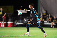 LAKE BUENA VISTA, FL - JULY 14: Pedro Gallese #1 of Orlando City SC kicking the ball during a game between Orlando City SC and New York City FC at Wide World of Sports on July 14, 2020 in Lake Buena Vista, Florida.