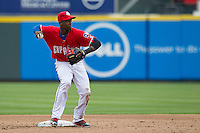 Round Rock Express second baseman Jurickson Profar #10 turns a double play against the Omaha Storm Chasers in the Pacific Coast League baseball game on April 7, 2013 at the Dell Diamond in Round Rock, Texas. Omaha beat Round Rock 5-2, handing the Express their first loss of the season. (Andrew Woolley/Four Seam Images).