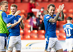 Aberdeen v St Johnstone…18.09.21  Pittodrie    SPFL<br />Stevie May appluds the saints fans at full time alongside James Brown and Hayden Muller<br />Picture by Graeme Hart.<br />Copyright Perthshire Picture Agency<br />Tel: 01738 623350  Mobile: 07990 594431