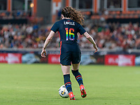 HOUSTON, TX - JUNE 13: Rose Lavelle #16 of the USWNT dribbles during a game between Jamaica and USWNT at BBVA Stadium on June 13, 2021 in Houston, Texas.