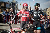 Greg Henderson (NZL/Lotto-Soudal) & Bernie Eisel (AUT/SKY) catching up before the start<br /> <br /> 103rd Scheldeprijs 2015