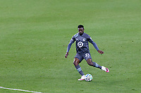 ST PAUL, MN - OCTOBER 18: Bakaye Dibassy #21 of Minnesota United FC passes the ball during a game between Houston Dynamo and Minnesota United FC at Allianz Field on October 18, 2020 in St Paul, Minnesota.