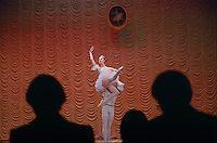 St Petersburg, Russia. June 2002..Contestants in the annual Vaganova Prix go through their paces under the eyes of the ultra critical judges. Winners will be offered places at the  Vaganova School of Ballet, Russia's leading ballet school, which has produced generations of Russia's most famous dancers. .