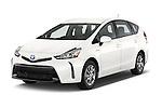 2015 Toyota Prius V Four 5 Door MPV angular front stock photos of front three quarter view
