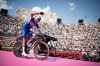 Eros Capecchi (ITA/Deceuninck - QuickStep) entering the Verona amphitheater after finishing the closing iTT<br /> <br /> Stage 21 (ITT): Verona to Verona (17km)<br /> 102nd Giro d'Italia 2019<br /> <br /> ©kramon