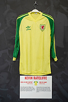 Kevin Ratcliffes' 1980/84 Wales away shirt is displayed at The Art of the Wales Shirt Exhibition at St Fagans National Museum of History in Cardiff, Wales, UK. Monday 11 November 2019