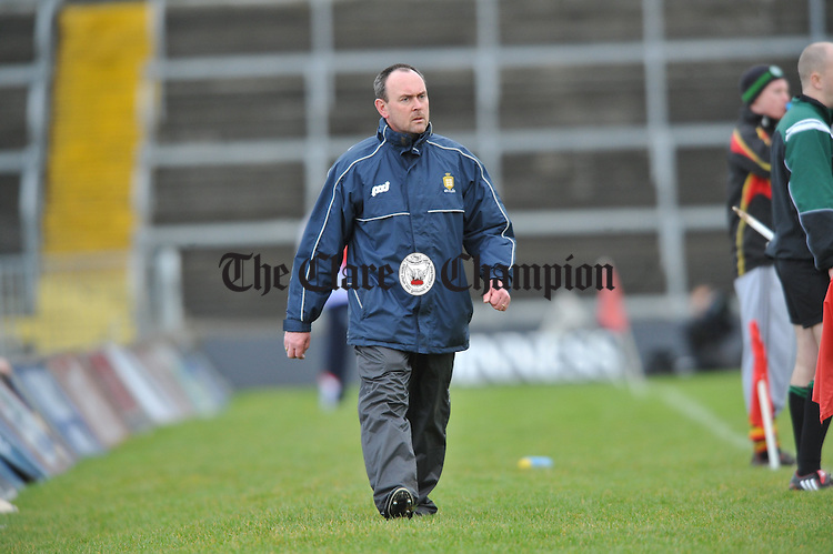 Manager John Minogue during the Harty Cup semi-final at the Gaelic Grounds, Limerick. Photograph by John Kelly.