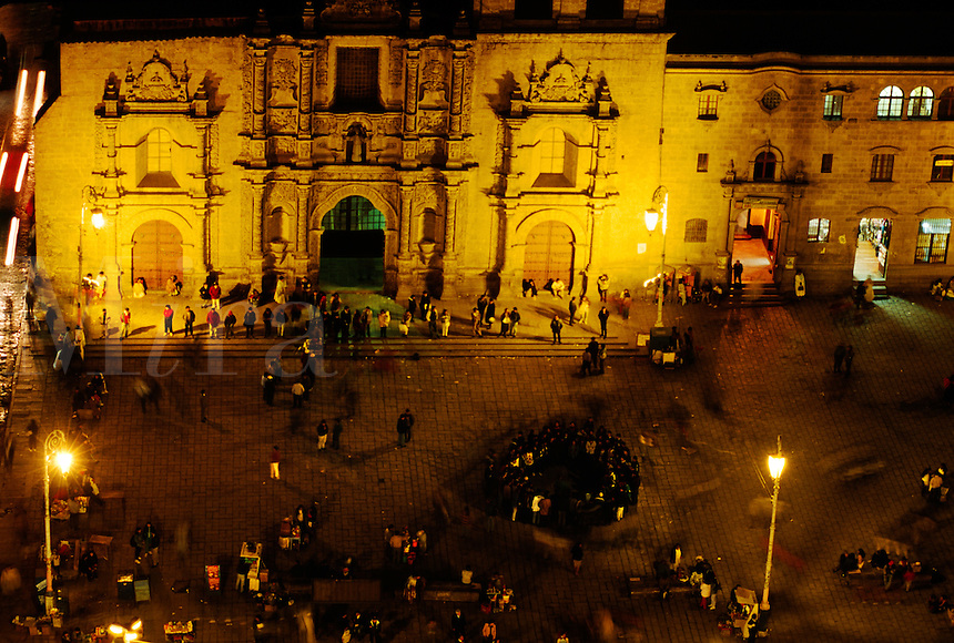 Night transforms the city of LA PAZ & SAN FRANCISCO SQUARE into a magical world of glowing lights - BOLIVIA