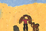 Art work by school age child second grade showing girl and animal