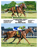 This was a Special Request to print this like a 2 part winphoto but with these 2 running shots. <br /> Gufo winning The Grade 3 Kent Stakes at Delaware Park on 7/4/20 in New Track Record time of 1:46.4 for 1 1/8 Miles on the Turf