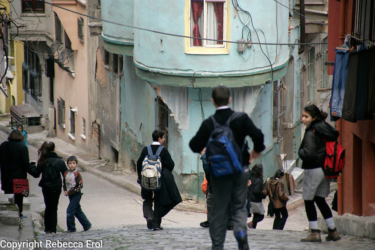 Schoolchildren in the historical neighbourhood of Fener, Istanbul, Turkey