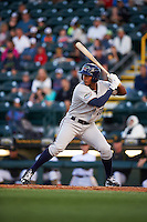 Fort Myers Miracle left fielder Edgar Corcino (27) at bat during a game against the Bradenton Marauders on April 9, 2016 at McKechnie Field in Bradenton, Florida.  Fort Myers defeated Bradenton 5-1.  (Mike Janes/Four Seam Images)