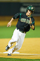 Corey Shaylor #12 of the Charlotte 49ers rounds third base against the Wake Forest Demon Deacons at Gene Hooks Field on March 22, 2011 in Winston-Salem, North Carolina.   Photo by Brian Westerholt / Four Seam Images
