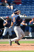 Cal State Fullerton Titans catcher A.J. Kennedy (10) at bat during a game against the Louisville Cardinals on February 15, 2015 at Bright House Field in Clearwater, Florida.  Cal State Fullerton defeated Louisville 8-6.  (Mike Janes/Four Seam Images)