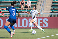 CARY, NC - SEPTEMBER 12: Sophia Smith #9 of the Portland Thorns waits for a pass during a game between Portland Thorns FC and North Carolina Courage at Sahlen's Stadium at WakeMed Soccer Park on September 12, 2021 in Cary, North Carolina.