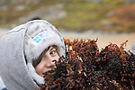 George carries a bundle of seaweed to the second art project of the day. Cape Farewell Youth Expedition 08(©Robert vanWaarden ALL RIGHTS RESERVED)