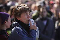 Montreal (QC) CANADA - April 17, 2012 -Francoise David co-leader , Quebec Solidaire adress the crowd at a rallye