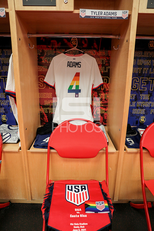 SANDY, UT - JUNE 10: Tyler Adams #4 of the United States's locker during a game between Costa Rica and USMNT at Rio Tinto Stadium on June 10, 2021 in Sandy, Utah.