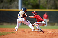 Ball State Cardinals second baseman Noah Navarro (8) waits for a throw Myles Nicholson (9) gets back to the bag as during a game against the Mount St. Mary's Mountaineers on March 9, 2019 at North Charlotte Regional Park in Port Charlotte, Florida.  Ball State defeated Mount St. Mary's 12-9.  (Mike Janes/Four Seam Images)