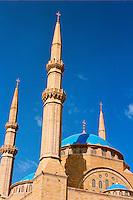Beirut / Libano.La grande Moschea Khatem Al Anbiyaa nel centro di Beirut..Foto Livio Senigalliesi