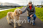 Mary Daly and Wallace the dog enjoying a stroll in Blennerville on Friday.