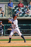 University of Virginia Cavaliers infielder Justin Novak (18) at bat during a game against the Liberty University Flames at Joseph P. Riley Ballpark on February 17, 2017 in Charleston, South Carolina. Virginia defeated Liberty 10-2. (Robert Gurganus/Four Seam Images)