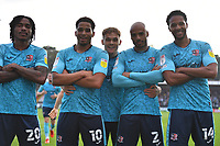 Sam Nombe of Exeter City scores the first Goal and celebrates with Jevani Brown of Exeter City Jake Caprice of Exeter City and Timothee Dieng of Exeter City and Archie Collins of Exeter City during Stevenage vs Exeter City, Sky Bet EFL League 2 Football at the Lamex Stadium on 9th October 2021