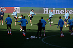 Atletico's Profe Ortega with his players during a training session the day before quarterfinal first leg Champions League soccer match against Real Madrid at Vicente Calderon stadium in Madrid, Spain. April 13, 2015. (ALTERPHOTOS/Victor Blanco)