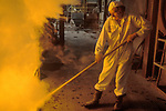 British Steel Corporation  Steel making Port Talbot Wales UK. 1980s 80s  Removing the Bung from the Frit Kiln South Wales UK