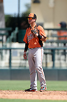 Baltimore Orioles shortstop Adrian Marin (92) during an Instructional League game against the Tampa Bay Rays on September 15, 2014 at Ed Smith Stadium in Sarasota, Florida.  (Mike Janes/Four Seam Images)