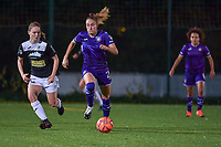 Aalst's defender Tiana Andries (L) and Anderlecht Tessa Wullaert (27)(R) in action during a female soccer game between RSC Anderlecht Dames and Eendracht Aalst Ladies  on the fourth matchday of the 2020 - 2021 season of Belgian Womens Super League , Tuesday 13 th of October 2020  in ANDERLECHT , Belgium . PHOTO SPORTPIX.BE | SPP | STIJN AUDOOREN