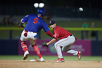 Salem Red Sox second baseman Nick Yorke (3) prepares to apply a tag to Lency Delgado (5) of the Kannapolis Cannon Ballers at Atrium Health Ballpark on July 29, 2021 in Kannapolis, North Carolina. (Brian Westerholt/Four Seam Images)