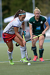 GER - Mannheim, Germany, October 02: During the women hockey match between Mannheimer HC (white) and HTC Uhlenhorst Muehlheim (green) on October 2, 2016 at Mannheimer HC in Mannheim, Germany. Final score 2-1 (HT 1-0). (Photo by Dirk Markgraf / www.265-images.com) *** Local caption ***