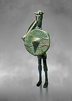 Iron Age Nuragic broze statue of a soldier with a shield and sword from Monte Arcosu di Uta, Sardinia. Museo archeologico nazionale, Cagliari, Italy. (National Archaeological Museum) - Art Grey Background