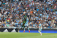 ST PAUL, MN - JULY 24: Dairon Asprilla #27 of the Portland Timbers and Bakaye Dibassy #12 of Minnesota United FC go for the header during a game between Portland Timbers and Minnesota United FC at Allianz Field on July 24, 2021 in St Paul, Minnesota.