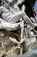 The river-god Ganges (representing Asia) is one of the sculptures in the Fountain of the Four Rivers in Piazza Navona, Rome, Italy. Designed by Bernini.