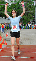 Anne Tully is the top woman in the 20 mile run at the 2010 Syttende Mai between Madison and Stoughton, Wisconsin  on Saturday, 5/15/10
