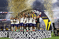 LAS VEGAS, NV - AUGUST 1: USMNT players including Sebastian Lletget #17 raise the Gold Cup trophy after a game between Mexico and USMNT at Allegiant Stadium on August 1, 2021 in Las Vegas, Nevada.