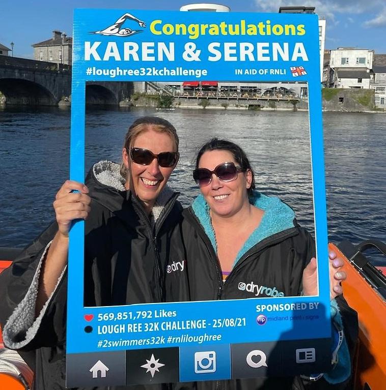 Lough Ree swimmers - (L-R) Serena Friel and Karen Delaney