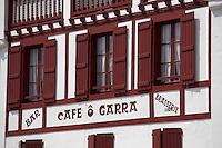 France, Aquitaine, Pyrénées-Atlantiques, Pays Basque, Ciboure: Façade café   //  France, Pyrenees Atlantiques, Basque Country, Ciboure: coffee facade