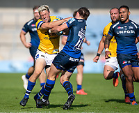 13th September 2020; AJ Bell Stadium, Salford, Lancashire, England; English Premiership Rugby, Sale Sharks versus Bath; Rhys Priestland of Bath Rugby is tackled by  AJ MacGinty of Sale Sharks