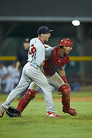 Johnson City Cardinals relief pitcher Dylan Pearce (38) celebrates with catcher Aaron Antonini (53) after getting the final out in the game against the Burlington Royals at Burlington Athletic Stadium on September 4, 2019 in Burlington, North Carolina. The Cardinals defeated the Royals 8-6 to win the 2019 Appalachian League Championship. (Brian Westerholt/Four Seam Images)