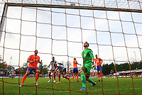 Craig Disley of Grimsby Town hits the bar with a header in the final minutes of the Vanarama National League match between Braintree Town and Grimsby Town at the Amlin Stadium, Braintree, England on 10 October 2015. Photo by PHC Images.