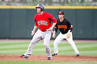 July 22, 2009:  Bubba Bell of the Pawtucket Red Sox leads off second base in front of Trevor Plouffe during a game at Frontier Field in Rochester, NY.  Pawtucket is the Triple-A International League affiliate of the Boston Red Sox.  Photo By Mike Janes/Four Seam Images