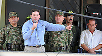 INZA -COLOMBIA, 07-12-2013. Juan Carlos Pinzón, ministro de la defensa condenó el ataque que dejó al menos nueve muertos contra una estación de la Policía Nacional en el municipio de Inza, Cauca, ubicado suroeste de Colombia. El ataque se le atribuye a la guerrila de las Farc quienes al parecer lanzaron cilindros de gas cargados con explosivos desde un carro que llevaba cebollas./ Juan Carlos Pinzon, defense minister, condemned the terrorist attack, where at least nine people died, against a National Police station in the municipality of Inza, Cauca, southwest of Colombia. The attack is attribuited to the Farc guerrillas who shot explosive-filled cylinders from a vehicle loaded of onions. Photo: VizzorImage/- Mauricio Orjuela/ Mindefensa / HANDOUT PICTURE; THIS PICTURE IS DISTRIBUITED AS A SERVICE TO  SUBSCRIBERS/ MANDATORY EDITORIAL USE ONLY/